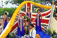 Aloha Festivals Parade float, beautifully decorated with island flowers