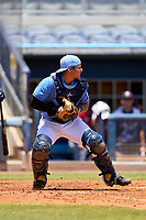 FCL Rays catcher Julio Meza (68) during a game against the FCL Twins on July 20, 2021 at Charlotte Sports Park in Port Charlotte, Florida.  (Mike Janes/Four Seam Images)