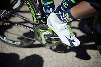 Nairo Quintana's (COL/Movistar) stealth shoe covers<br /> <br /> stage 16: Morain-en-Montagne to Bern (SUI) / 209km<br /> 103rd Tour de France 2016