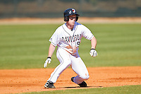 Kelly Myers #9 of the Davidson Wildcats takes his lead off of second base against the College of Charleston Cougars at Wilson Field on March 12, 2011 in Davidson, North Carolina.  The Wildcats defeated the Cougars 8-3.  Photo by Brian Westerholt / Four Seam Images