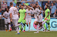 Andre Ayew of Swansea City celebrates his equaliser during the Swansea City FC v Manchester City Premier League game at the Liberty Stadium, Swansea, Wales, UK, Sunday 15 May 2016