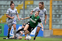 Giulia Mancuso of Hellas Verona, Valeria Monterubbiano of Sassuolo and Sofia Meneghini of Hellas Verona compete for the ball during the women Serie A football match between US Sassuolo and Hellas Verona at Enzo Ricci stadium in Sassuolo (Italy), November 15th, 2020. Photo Andrea Staccioli / Insidefoto