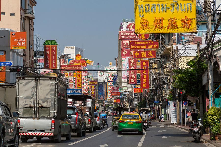 Bangkok, Thailand.  Mid-morning Traffic on Yaowarat Road, Chinatown.