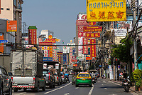 Bangkok, Thailand.  Mid-morning Traffic on Yaowarat Road, Chinatown.