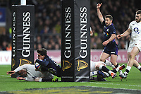 Sam Johnson of Scotland scores a try during the Guinness Six Nations Calcutta Cup match between England and Scotland at Twickenham Stadium on Saturday 16th March 2019 (Photo by Rob Munro/Stewart Communications)