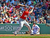 9 June 2012: Washington Nationals outfielder Bryce Harper in action against the Boston Red Sox at Fenway Park in Boston, MA. The Nationals defeated the Red Sox 4-2 in the second game of their 3-game series. Mandatory Credit: Ed Wolfstein Photo