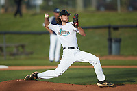 Mooresville Spinners starting pitcher Hunter Harritan (14) (Marshall University) in action against the Carolina Venom at Moor Park on June 22, 2020 in Mooresville, NC.  The Spinners defeated the Venom 7-2. (Brian Westerholt/Four Seam Images)