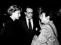 Louise Deschatelets  (L) and Guy Fournier (M)<br /> attend the Rene Levesque tribute at Montreal's convention centre, October 2nd,1985.<br /> <br /> File Photo : Agence Quebec Presse - Pierre Roussel