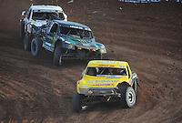 Dec. 11, 2011; Chandler, AZ, USA;  LOORRS pro 2 driver Rob Naughton leads Jeremy McGrath during the Lucas Oil Challenge Cup at Firebird International Raceway. Mandatory Credit: Mark J. Rebilas-