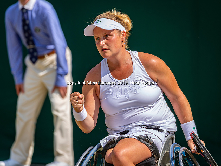 London, England, 11 July, 2019, Tennis,  Wimbledon, Ladies Wheelchair single: Aniek van Koot (NED)<br /> Photo: Henk Koster/tennisimages.com