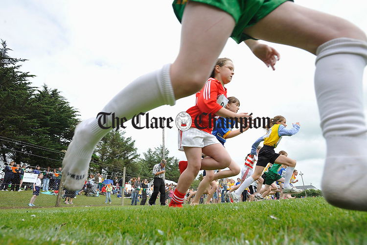 And the're off....Action froma Girls U-80m race at the Clare Community Games Athletics finals in Rosslevan. Photograph by John Kelly.