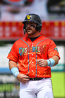Wisconsin Timber Rattlers first baseman Thomas Dillard (17) during a game against the Quad Cities River Bandits on July 11, 2021 at Neuroscience Group Field at Fox Cities Stadium in Grand Chute, Wisconsin.  (Brad Krause/Four Seam Images)