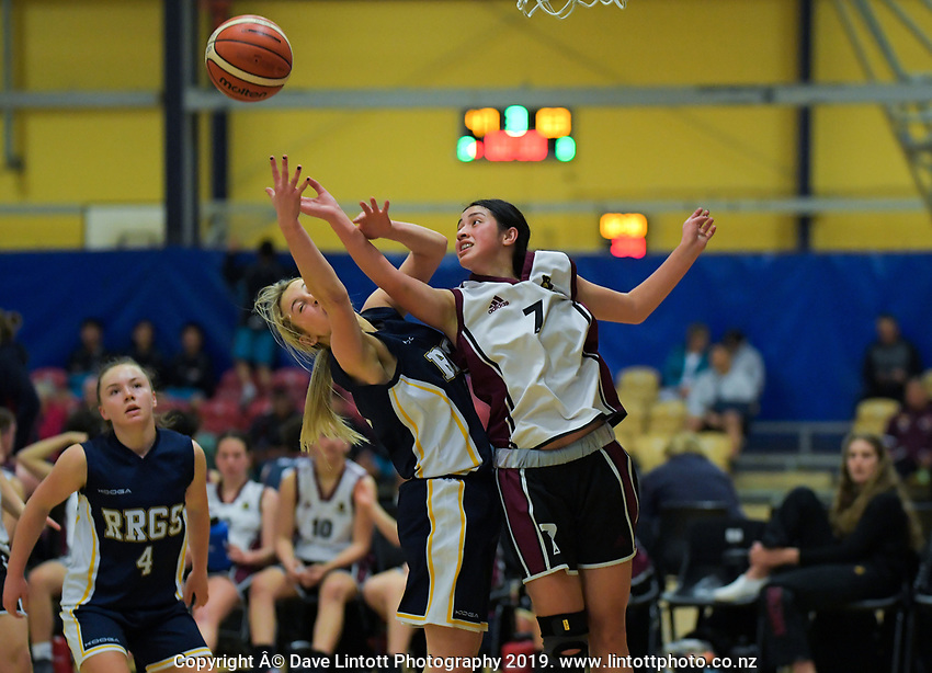 Action from the 2019 Schick AA Girls' Secondary Schools Basketball Premiership National Championship match between Hamilton Girls' High School and Rangi Ruru Girls' College at the Central Energy Trust Arena in Palmerston North, New Zealand on Monday, 30 September 2019. Photo: Dave Lintott / lintottphoto.co.nz