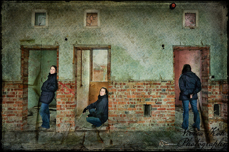 Multiplicity self portrait at Hellingly Asylum http://www.vivecakohphotography.co.uk/2011/02/08/our-hearts-will-always-separate/