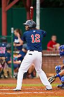 Romy Jimenez #12 of the Elizabethton Twins at bat against the Bluefield Blue Jays at Joe O'Brien Field on July 14, 2012 in Elizabethton, Tennessee.  The Twins defeated the Blue Jays 4-0.  (Brian Westerholt/Four Seam Images)