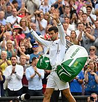 9th July 2021, Wimbledon, SW London, England; 2021 Wimbledon Championships, semi finals; Novak Djokovic Ser celebrates his win over Denis Shapovalov Can