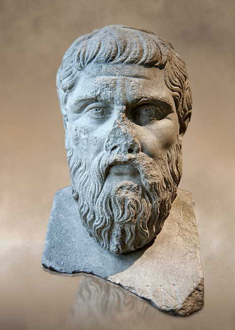 "Bust of Greek Philosopher Plato. A  2nd century AD Roman sculpture in marble. In  423-348 BC Greek sculptor Silanion created a bronze bust of Plato to adorn the gardens of the Acadamy in Athens, at the request of Persia Mithridite, according to Diogenes Laertius (De Vitis Philosophorum III, 25 citing Memorabilia Favorinus ). This Roman copy of the Greek original can be identified by the la two letters of ""Plato"" inscribed on it.  Inv MR 415   (or Ma 2654), The Louvre Mueum, Paris."