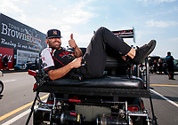 Sep 1, 2019; Clermont, IN, USA; Dom Lagana, crew member for NHRA top fuel driver Steve Torrence during qualifying for the US Nationals at Lucas Oil Raceway. Mandatory Credit: Mark J. Rebilas-USA TODAY Sports
