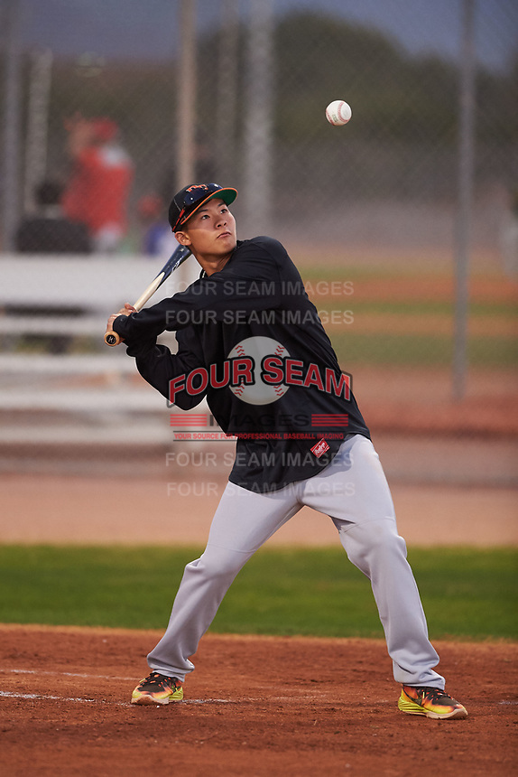An assistant coach during the Under Armour Baseball Factory Recruiting Classic at Gene Autry Park on December 27, 2017 in Mesa, Arizona. (Zachary Lucy/Four Seam Images)