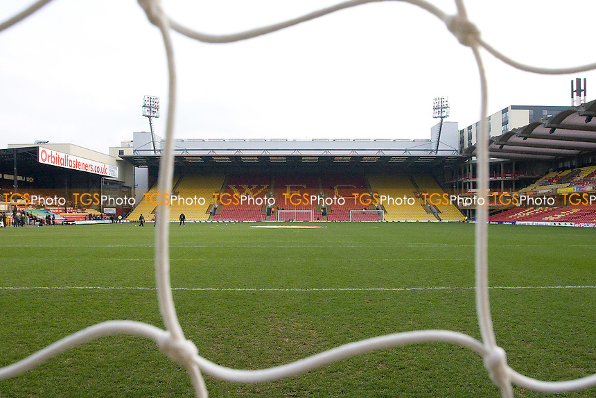 Genera View of Watford FC from behind the goal - Watford vs Barnsley - nPower Championship Football at Vicarage Road Stadium, Watford - 04/02/12 - MANDATORY CREDIT: George Phillipou/TGSPHOTO - Self billing applies where appropriate - 0845 094 6026 - contact@tgsphoto.co.uk - NO UNPAID USE.