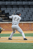 Michael Pierson (22) of the Appalachian State Mountaineers at bat against the Wake Forest Demon Deacons at Wake Forest Baseball Park on February 13, 2015 in Winston-Salem, North Carolina.  The Mountaineers defeated the Demon Deacons 10-1.  (Brian Westerholt/Four Seam Images)