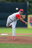 Williamsport Crosscutters pitcher Julio Reyes #45 during a game against the Jamestown Jammers on June 20, 2013 at Russell Diethrick Park in Jamestown, New York.  Jamestown defeated Williamsport 12-6.  (Mike Janes/Four Seam Images)
