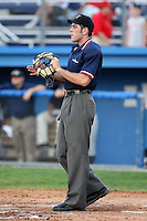 July 22nd 2008:  Home plate umpire Mathieu Moisans during a game at Dwyer Stadium in Batavia, NY.  Photo by:  Mike Janes/Four Seam Images