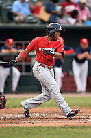 Oklahoma City RedHawks outfielder Adron Chambers (2) at bat during a game against the Memphis Redbirds on May 23, 2014 at AutoZone Park in Memphis, Tennessee.  Oklahoma City defeated Memphis 12-10.  (Mike Janes/Four Seam Images)