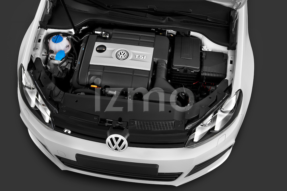 High angle engine detail of a 2011 Volkswagen Golf R 5 Door Hatchback Stock Photo