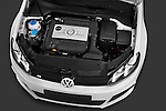 High angle engine detail of a 2011 Volkswagen Golf R 5 Door Hatchback Stock Photo