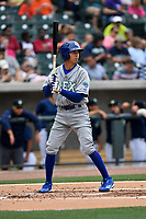 Designated hitter Manny Olloque (3) of the Lexington Legends in a game against the Columbia Fireflies on Sunday, April 23, 2017, at Spirit Communications Park in Columbia, South Carolina. Lexington won, 4-2. (Tom Priddy/Four Seam Images)