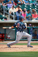 Jacksonville Jumbo Shrimp third baseman Brian Anderson (31) follows through on a swing during a game against the Birmingham Barons on April 24, 2017 at Regions Field in Birmingham, Alabama.  Jacksonville defeated Birmingham 4-1.  (Mike Janes/Four Seam Images)