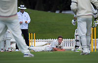 Will Williams reflects on his delivery during day three of the Plunket Shield match between the Wellington Firebirds and Canterbury at Basin Reserve in Wellington, New Zealand on Wednesday, 21 October 2020. Photo: Dave Lintott / lintottphoto.co.nz