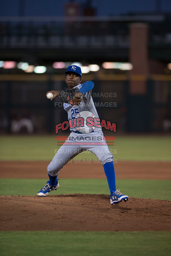 AZL Royals relief pitcher Adrian Alcantara (25) delivers a pitch during an Arizona League game against the AZL Giants Black at Scottsdale Stadium on August 7, 2018 in Scottsdale, Arizona. The AZL Giants Black defeated the AZL Royals by a score of 2-1. (Zachary Lucy/Four Seam Images)