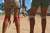 Mato Grosso State, Brazil. Aldeia Piaraçu. Juruna (Yudja) girls; Huka Huka fighting practice.