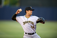 Bradenton Marauders Trace Tam Sing (24) throws to first base during the second game of a doubleheader against the Tampa Yankees on April 13, 2017 at George M. Steinbrenner Field in Tampa, Florida.  Tampa defeated Bradenton 2-1.  (Mike Janes/Four Seam Images)