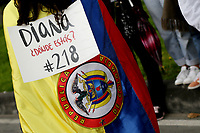 BOGOTA, COLOMBIA - MAY 28: A woman holds a placard asking about missing people during a national strike on May 28, 2021 in Bogota, Colombia. (Photo by Leonardo Munoz/VIEWpress)