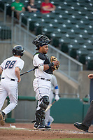 Northwest Arkansas Naturals catcher Meibrys Viloria (22) looks to the mound between batters on May 6, 2019, at Arvest Ballpark in Springdale, Arkansas. (Jason Ivester/Four Seam Images)