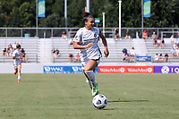 CARY, NC - SEPTEMBER 12: Sophia Smith #9 of the Portland Thorns FC chases the ball during a game between Portland Thorns FC and North Carolina Courage at Sahlen's Stadium at WakeMed Soccer Park on September 12, 2021 in Cary, North Carolina.