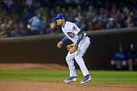 Chicago Cubs shortstop Addison Russell (27) in the first inning during Game 3 of the Major League Baseball World Series against the Cleveland Indians on October 28, 2016 at Wrigley Field in Chicago, Illinois.  (Mike Janes/Four Seam Images)
