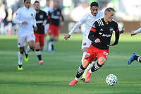 WASHINGTON, DC - MARCH 07: Erick Sorga #50 of D.C. United moves the ball during a game between D.C. United and Inter Miami CF during a game between Inter Miami CF and D.C. United at Audi Field on March 07, 2020 in Washington, DC.