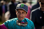 ARCADIA, CA -APRIL 08: Victor Espinoza after winning the Santa Anita Derby at Santa Anita Park on April 08, 2017 in Arcadia, California. (Photo by Alex Evers/Eclipse Sportswire/Getty Images)