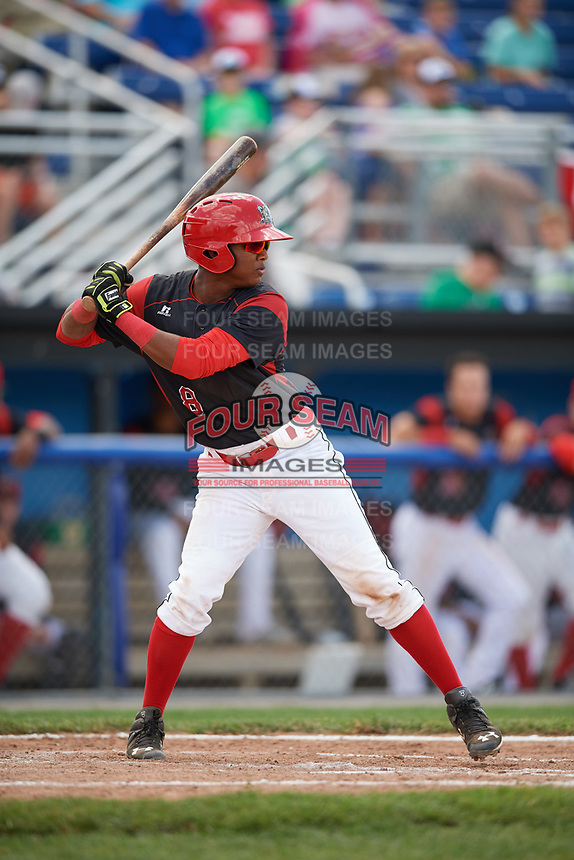 Batavia Muckdogs shortstop Marcos Rivera (8) at bat during a game against the West Virginia Black Bears on June 25, 2017 at Dwyer Stadium in Batavia, New York.  West Virginia defeated Batavia 6-4 in the completion of the game started on June 24th.  (Mike Janes/Four Seam Images)