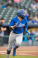 Tulsa Drillers infielder Jared Walker (3) runs for first on May 13, 2019, at Arvest Ballpark in Springdale, Arkansas. (Jason Ivester/Four Seam Images)