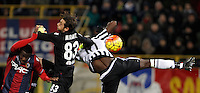 Calcio, Serie A:  Bologna vs Juventus. Bologna, stadio Renato Dall'Ara, 19 febbraio 2016. <br /> Bologna's Godfred Donsah and goalkeeper Antonio Mirante and Juventus' Paul Pogba fight for the ball during the Italian Serie A football match between Bologna and Juventus at Bologna's Renato Dall'Ara stadium, 19 February 2016.<br /> UPDATE IMAGES PRESS/Isabella Bonotto