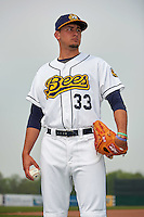 Burlington Bees pitcher Joe Gatto (33) poses for a photo before a game against the Bowling Green Hot Rods on May 7, 2016 at Community Field in Burlington, Iowa.  Bowling Green defeated Burlington 11-1.  (Mike Janes/Four Seam Images)