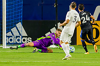 CARSON, CA - OCTOBER 14: Jonathan Klinsmann #33 GK of Los Angeles Galaxy makes a save during a game between San Jose Earthquakes and Los Angeles Galaxy at Dignity Heath Sports Park on October 14, 2020 in Carson, California.