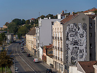 Wandbild, Blick von Brankova Brücke, Belgrad, Serbien, Europa<br /> Mural, View from Brankova Bridge, Belgrade, Serbia, Europe
