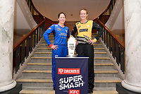 Lauren Down, captain of the Auckland Hearts and Maddy Green, captain of the Wellington Blaze (L-R)Super Smash Captains photo opportunity at Basin Reserve, Wellington on Wednesday 23 December 2020.<br />