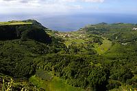 Blick auf Fajazinha auf der Insel Flores, Azoren, Portugal
